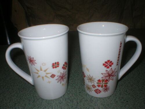 Set of Two 2 Starbucks Holiday Christmas Stars & Ornaments Mugs & Cups