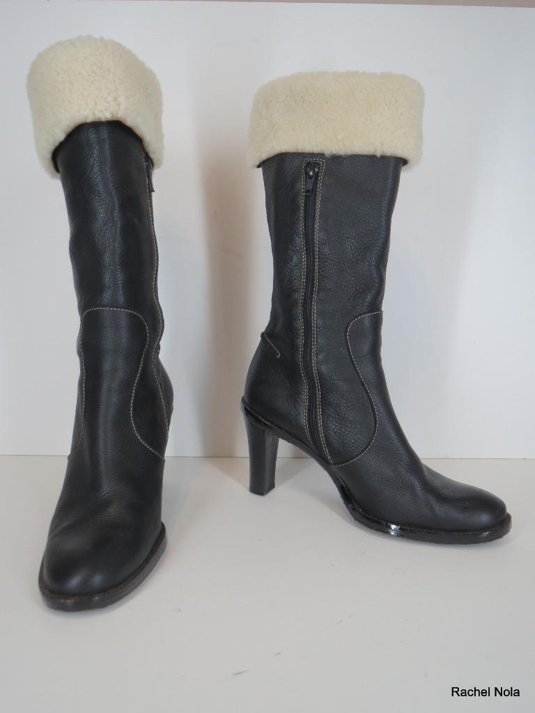 FACONNABLE bottes Mode Mi-Mollet SZ 9.5 39.5 cuir noir en rason à talon haut