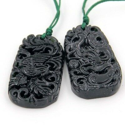 Pair Of Happy Lucky Dragon Phoenix Black Green Jade Amulet Pendant