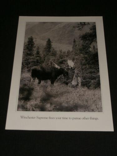 1988 Vintage Winchester Supreme Black & White Advertising Poster Moose Hunting