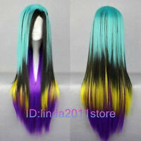 Hot Sell! Lolita Long Multi-Color Mixed Straight Cosplay wig + Wig cap NO:A114