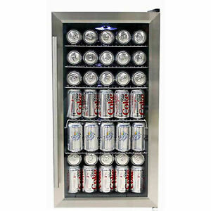 """Whynter Beverage Refrigerator, 120 Cans Capacity, Stainless Steel, 33""""H"""