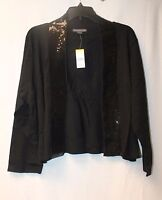 Covington Womens Plus Size 3x Black Sequin Open Front 3/4 Sleeves Cardigan