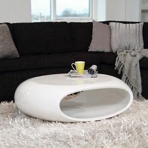 Design couchtisch space fiberglas tisch oval wei hochglanz glasfaser 100x70cm ebay - Couchtisch fiberglas ...