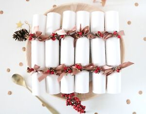 Christmas Crackers.Details About Luxury Christmas Crackers Box Of 6 Handmade White Rose Gold Satin Great Gifts