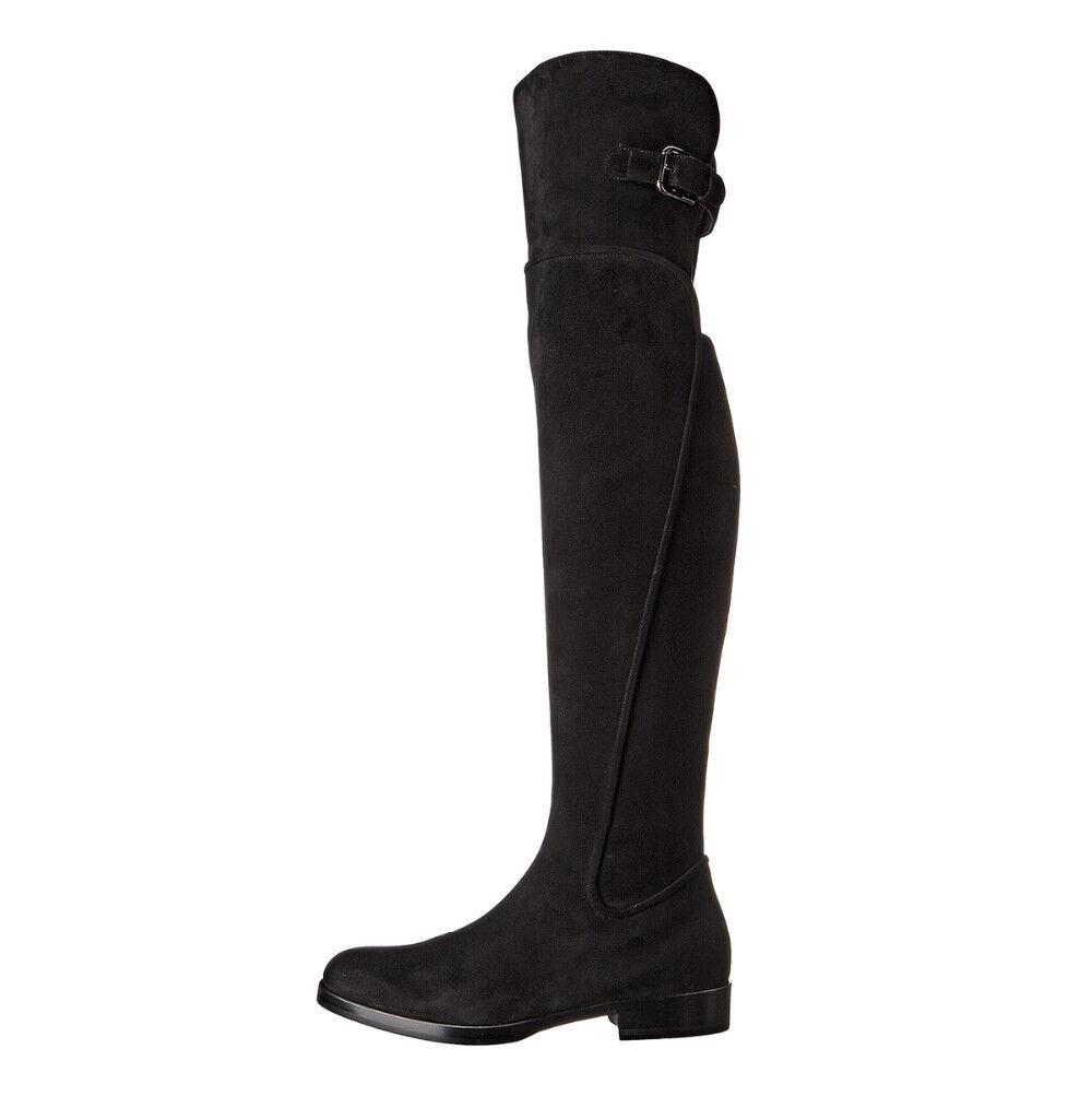 Women Short Zipper Buckle Strap Flat Heel Over The Knee Boots Big Size Handmade