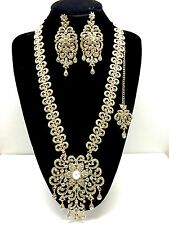 Big Long Bridal Necklace Earring Set Gold Tikka Indian Jewellery Wedding Jewelry
