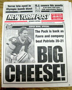 1997 newspaper GREEN BAY PACKERS win football SUPER BOWL XXXI v New England Patr