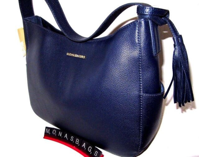 Michael Kors Admiral Navy Ashbury Leather Tassel Large Slouchy Shoulder Bag  NWT b00b73ca70c6f