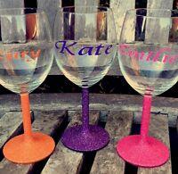 personalised glitter wine glass Name Gift
