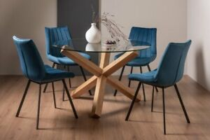 Goya Dark Oak Glass 4 Seat Dining Table & 4 Fontana Blue Velvet Fabric Chairs