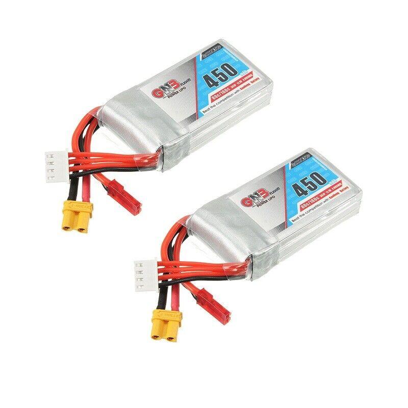 2 X Gaoneng GNB 11.1V 450mAh 80 160C 3S Lipo Battery JST XT30 Plug