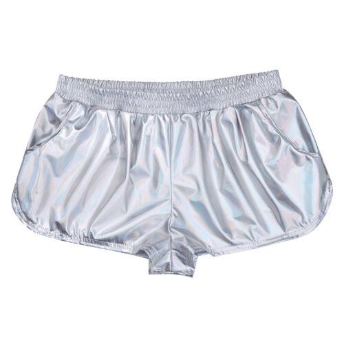 Womens Shiny Metallic Hot Pants Sports Short Pants Workout Yoga Fitness Shorts