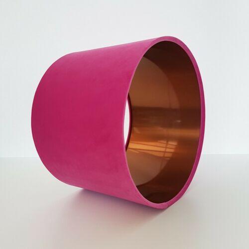 Lampshade Bright Pink Velvet Brushed Copper Lightshade Metallic Fuchsia