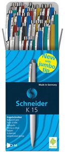 50-Schneider-K15-farbig-sortiert-3080-Druckkugelschreiber-Kuli-Kugelschreiber