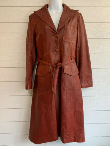 Vintage Leather King Trench Coat Red Burgundy Wome