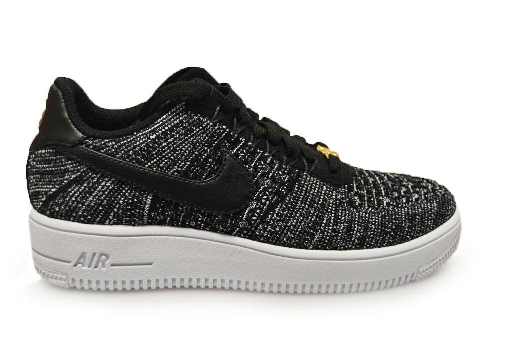 Mens Nike Air Force 1 Ultra Flyknit Low QS - 853880001 - Black White Trainers