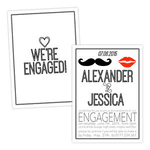 Personalised-engagement-party-invitations-RETRO-LIPS-MOUSTACHE-FREE-ENVELOPES-amp