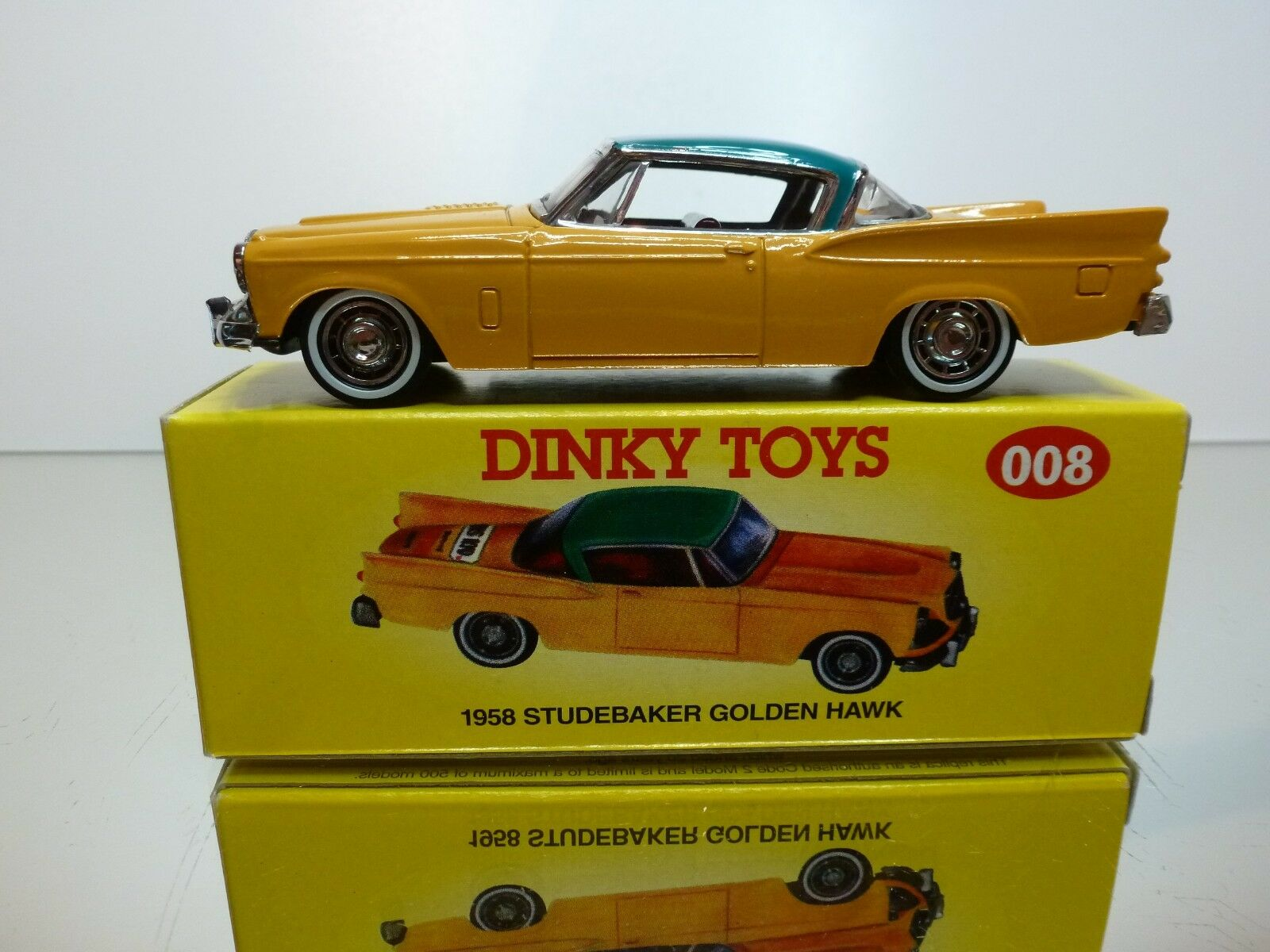 DINKY TOYS CODE 2 MODELS 008 - STUDEBAKER oroEN HAWK 1958 - 1 43 - EXCELLENT IB