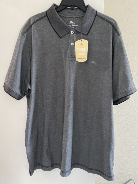 TOMMY BAHAMA Men's POLO SHIRT  SIZE (L) Black Color NWT $89.5