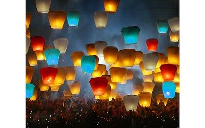 140 pcs Mix color UFO Wishing Lanterns Chinese Paper Fly Sky Candle Wedding USA