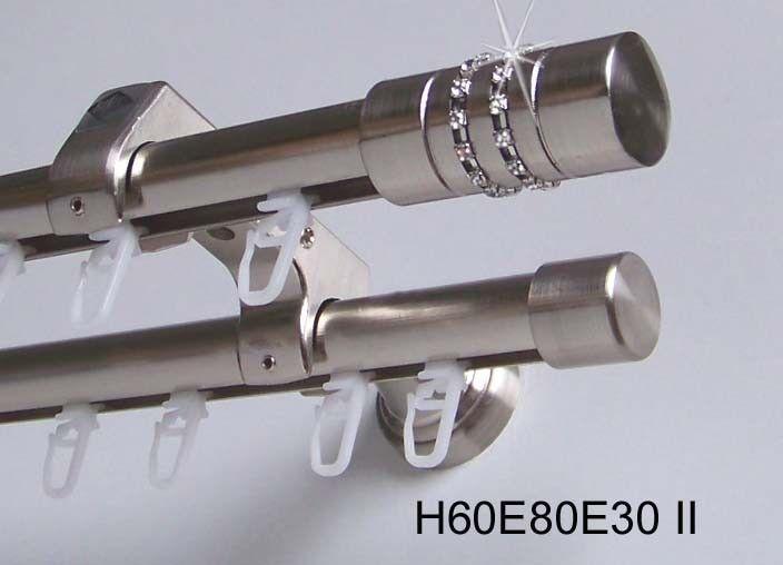 Innenlauf Gardinenstange Edelstahl Look 20mm Wandträger 2-läufig H60 H60 H60 II | Gewinnen Sie das Lob der Kunden  d1ae3f