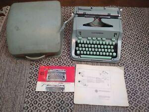 Vintage 1968 Hermes 3000 Portable Sea Foam Typewriter w/ key, manuals, and case