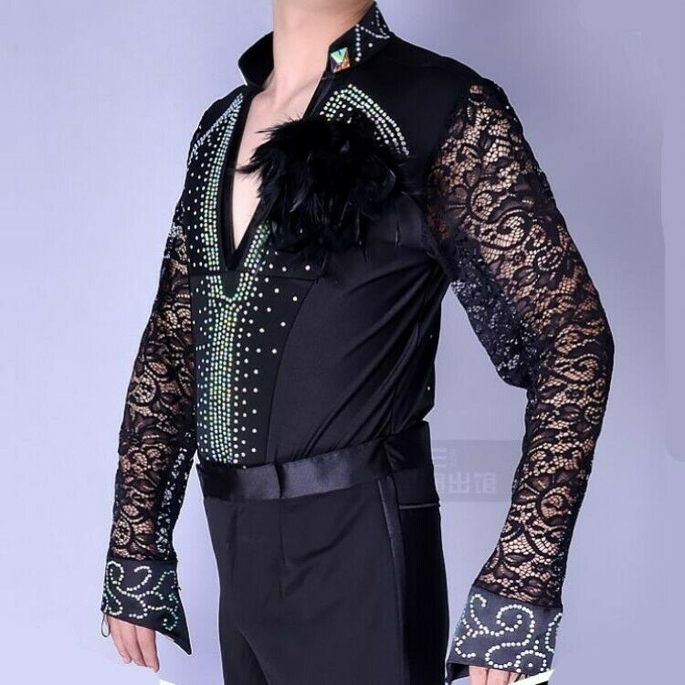 Men's Long Sleeve Lace Shirts V-Collar Feather Decor Stretchy Slim Blouses Tops