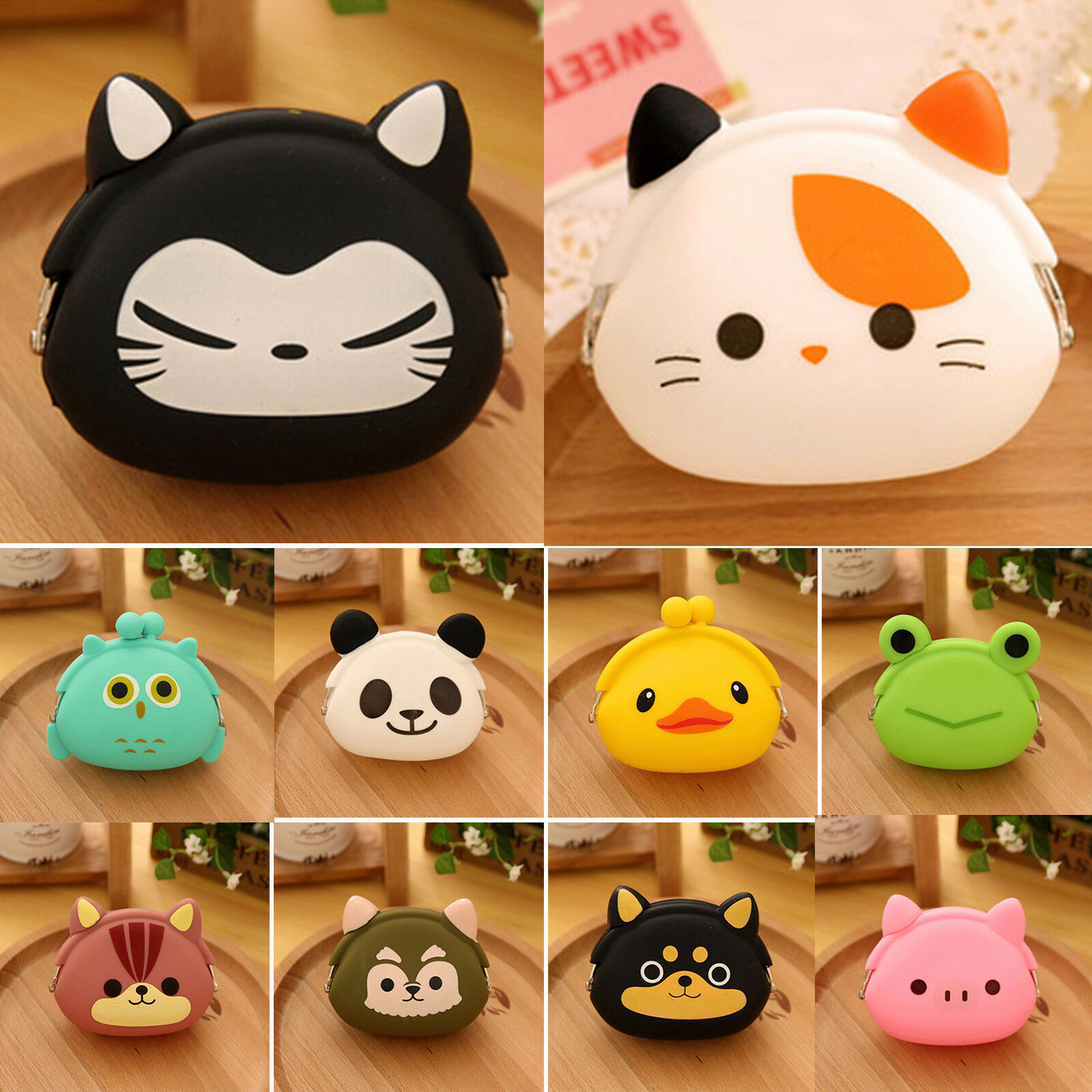 Animal Change Coin Card Purse Cute Small Portable Wallet Silicone Storage Case