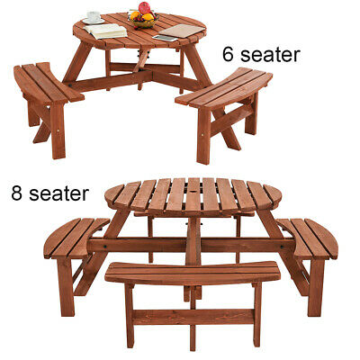 Remarkable 6 8 Seater Round Wooden Bench Table Garden Patio Picnic Cahir Ebay Gmtry Best Dining Table And Chair Ideas Images Gmtryco