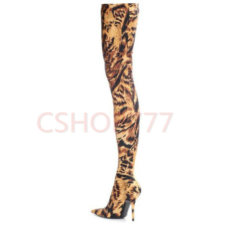 Donna pattern print over the knee high Stivali slim high heels shoes Sexy Plus SZ