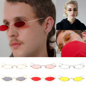 Unisex Women Small Oval Sunglasses Fashion Metal Frame Men Vintage Round Lens