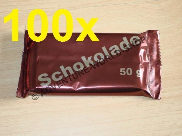 100x orig BW Schokolade, 50 g Bundeswehr EPA MRE Ration ( /KG)
