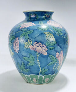 "Chinese Asian Oriental Porcelain Pink Peony Floral Blue 9"" Bouquet Vase Pottery"