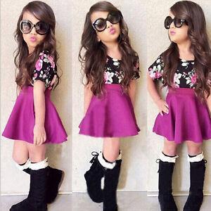 2PCS-Toddler-Kids-Baby-Girls-Floral-Dress-Outfit-Tops-T-Shirt-Tutu-Skirt-Clothes