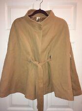 ANN TAYLOR LOFT Wool Rabbit Hair Belted Cape Poncho Jacket Coat Camel Sz M / L