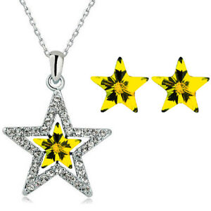 Silver-Plated-Yellow-Crystal-Star-Silver-Stud-Earrings-Pendant-Necklace-S976