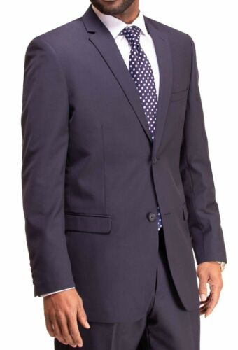 MENS SUIT 2 Piece Suit NAVY BLUE WEDDING BUSINESS CHURCH REGULAR CLASSIC FIT