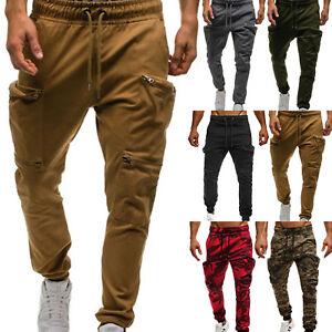 Mens Cargo Combat Work Trousers Elasticated Waist Jogger Bottoms Jogging Pants