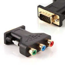 3 RCA RGB Video Female To HD 15-Pin VGA Component Video Converter Adapter TV LCD