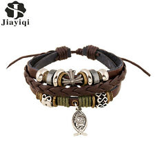 Ethnic Punk Multilayer Cowhide Leather Charm Bracelet for Men Fish Adjustable