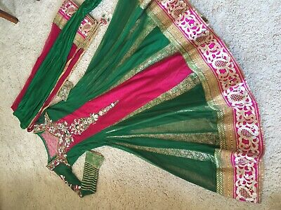 6 Partito Wear Asiatico Pakistano Shalwar Khameez Suit Nuovo Kamez Indiano Taglia Uk 12-mostra Il Titolo Originale