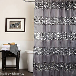 Image Is Loading NEW Sinatra Silver Bling Shower Curtain