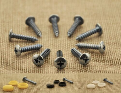 SELF TAPPING SCREWS AND YELLOW CAPS FITTING FIXING KIT FOR CAR NUMBER PLATE