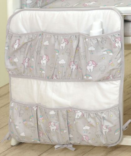 UNICORN ON GREY BABY BEDDING SET COT 120X60-COT BED140X70 BUMPER+COVERS+DUVET