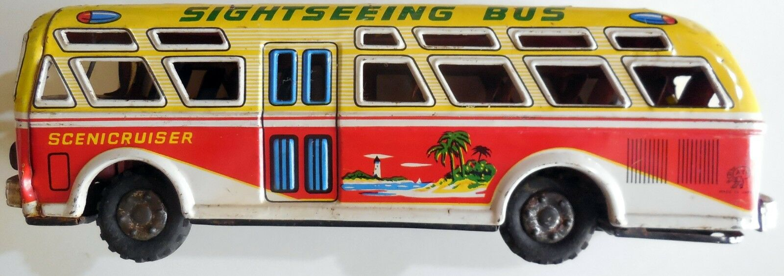 VINTAGE TIN TOY BUS SCENICRUISER SIGHTSEEING ATC ASAHI MADE IN JAPAN 1950s