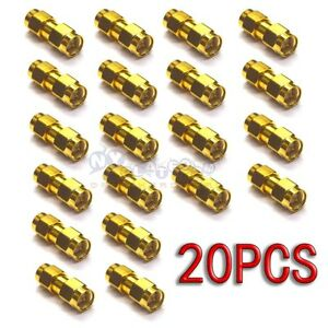 20PCS-SMA-Male-to-SMA-Male-RF-Coaxial-Adapter-Connector-SMA-JJ-Gold