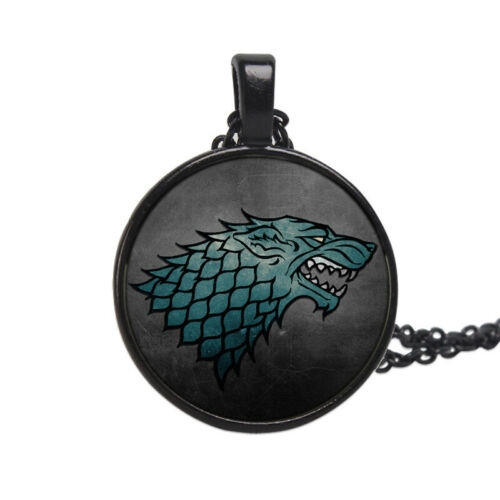 Game of Thrones Necklace Movie Wolf Head Pendant Glass Gemstone Metal Chain
