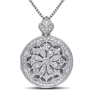 Amour Sterling Silver Vintage Diamond Locket Necklace (H-I, I2-I3)