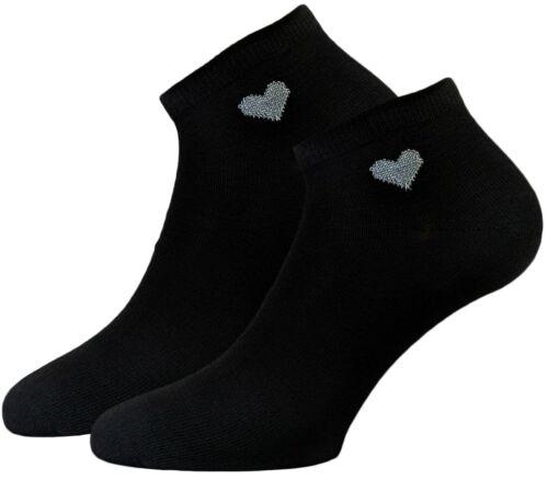 Damen Sneaker Socken schwarz 12 Paar Herz Motiv Fußlinge Kurzschaft Socken 36-39